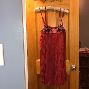 American Eagle Outfitters Red Embroidered SunDress